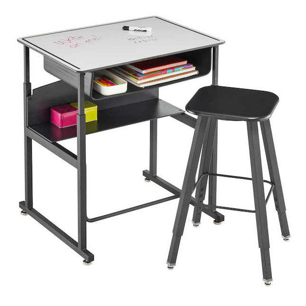 Safco 1204 AlphaBetter Adjustable Stand Up Desk with Premium Top, Book Box and Swinging Footrest Bar 20 x 28