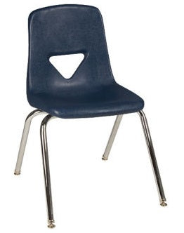 "Scholar Craft SC127 Navy School Stack Chair 17.5"" Seat Height Set of 5 - Quick Ship"
