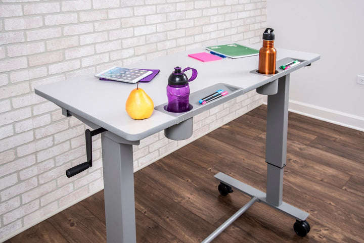 Luxor 2-STUDENT-C Two Student Sit Stand Desk with Crank Handle 24 x 48