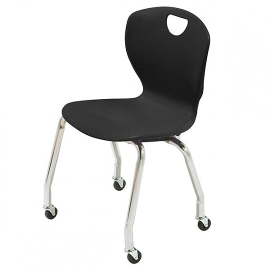"Scholar Craft SC3118-C Ovation School Stack Chair with Casters 18"" Seat Height Set of 4 - Quick Ship"