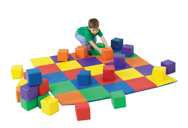 Children's Factory CF322-047 Patchwork Mat and 12 Piece Block Set