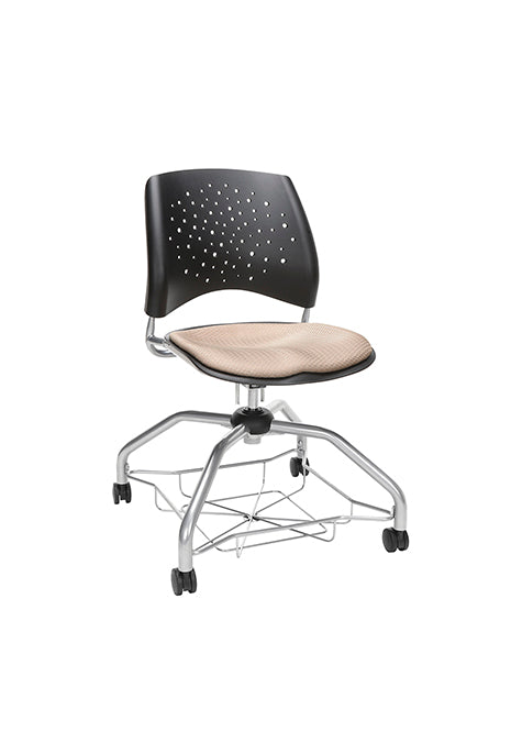 "OFM 329 Stars Foresee Plastic Chair with Fabric Seat 19"" Seat Height"