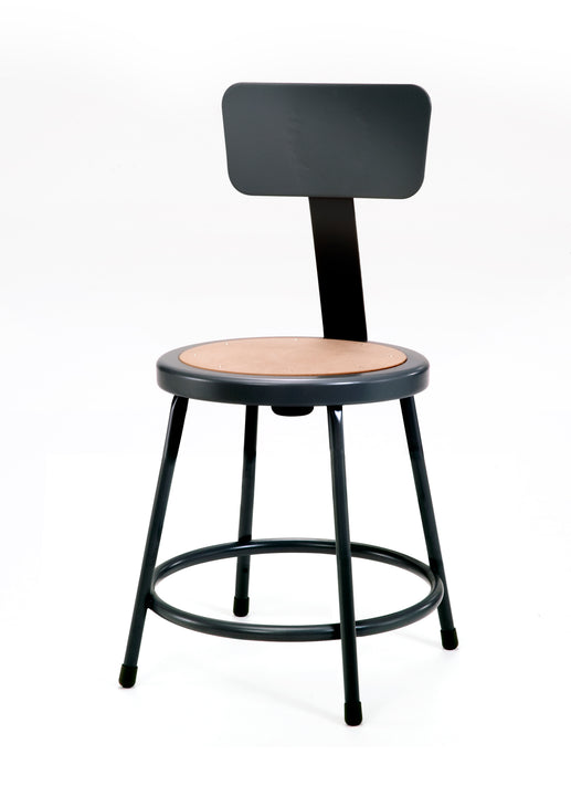 National Public Seating 6218B-10 Series Round Hardboard Science Lab Stool With Backrest Fixed Height
