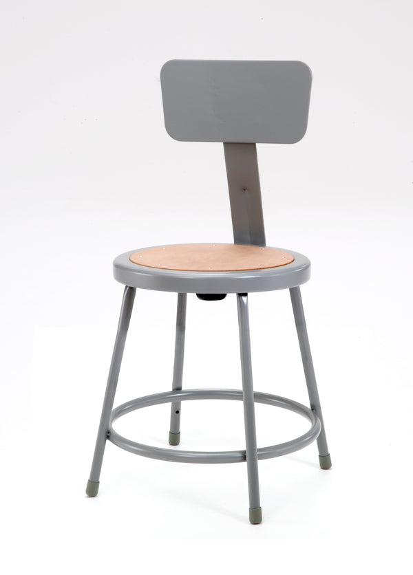 National Public Seating 6200B Series Round Hardboard Science Lab Stool With Backrest Fixed Height
