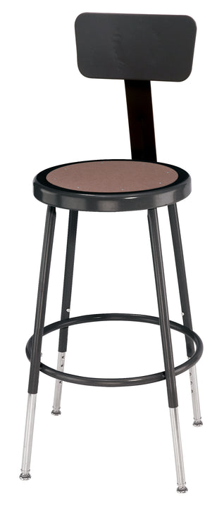 National Public Seating 6218HB-10 Series Round Hardboard Science Lab Stool With Backrest Adjustable Height