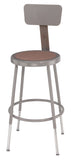 National Public Seating 6218HB Series Round Hardboard Science Lab Stool With Backrest Adjustable Height