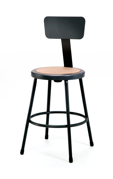 National Public Seating 6224B-10 Series Round Hardboard Science Lab Stool With Backrest Fixed Height