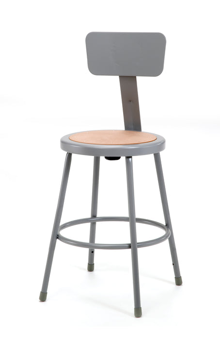 National Public Seating 6224B Series Round Hardboard Science Lab Stool With Backrest Fixed Height