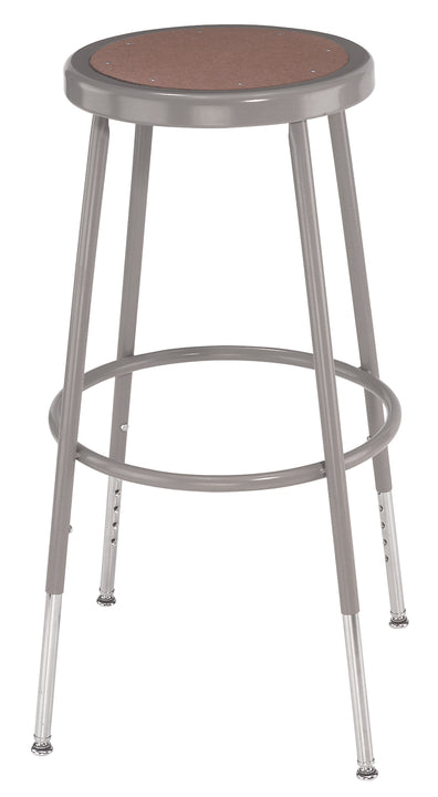 National Public Seating 6224H Series Round Hardboard Science Lab Stool Adjustable Height