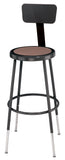 National Public Seating 6224HB-10 Series Round Hardboard Science Lab Stool With Backrest Adjustable Height