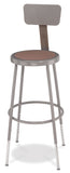 National Public Seating 6224HB Series Round Hardboard Science Lab Stool With Backrest Adjustable Height