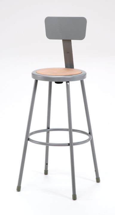 National Public Seating 6230B Series Round Hardboard Science Lab Stool With Backrest Fixed Height