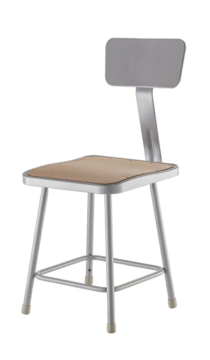 National Public Seating 6318B Series Square Hardboard Science Lab Stool with Backrest Fixed Height