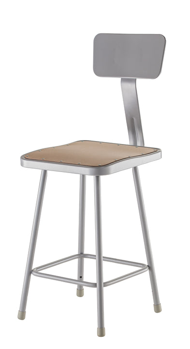 National Public Seating 6324B Series Square Hardboard Science Lab Stool with Backrest Fixed Height