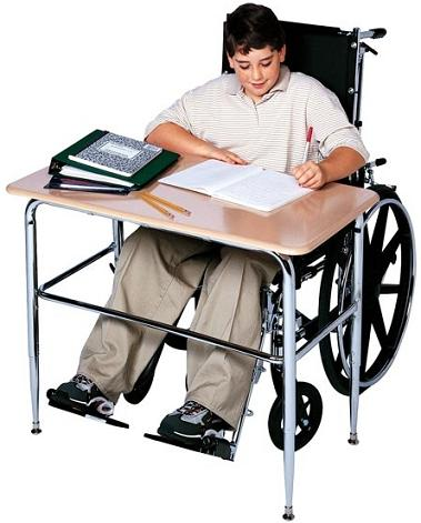 Scholar Craft SC2100SP ADA Wheelchair Accessible Solid Plastic Study Desk with U Brace 20 x 36 - Quick Ship