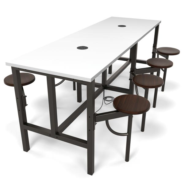 OFM 9008 Endure Series Standing Height Table with 8 Seats and Power