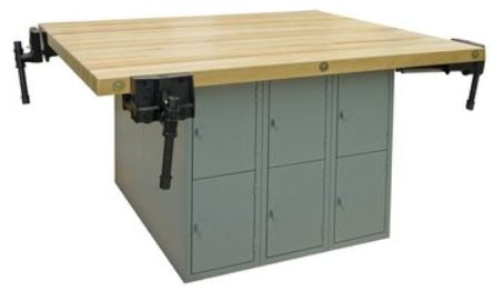 Hann L4-4V Four Station Workbench with 12 Vertical Lockers Steel Base and 4 Vises