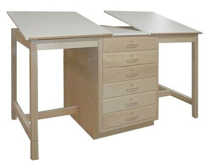 Hann WD-80 Dual Station Drawing Table with 6 Oversized Drawer Storage Cabinet