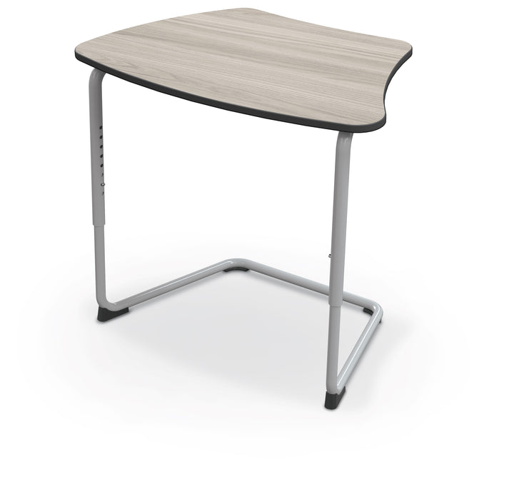 Balt 84390-B Hierarchy Adjustable Classroom Cantilever Desk with Curved Top and Platinum Frame