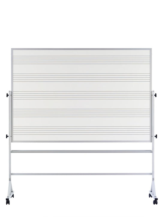Marsh RA-46C-MS2 Mobile Porcelain Steel Magnetic Reversible Markerboard Double Sided Music Staff 4 x 6