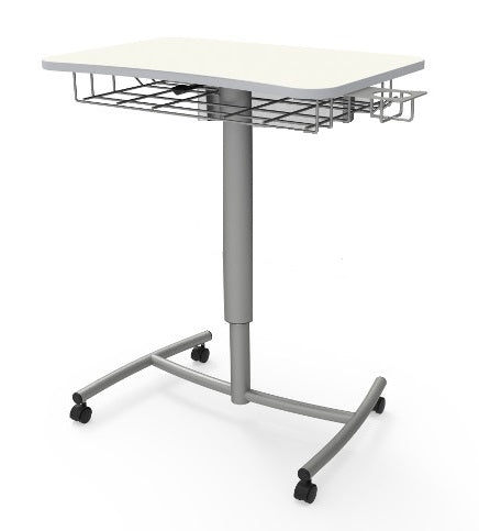 RUW20E.BRCR Ruckus Mobile Lectern with Hard Floor Casters and Book Rack with Cup Holder