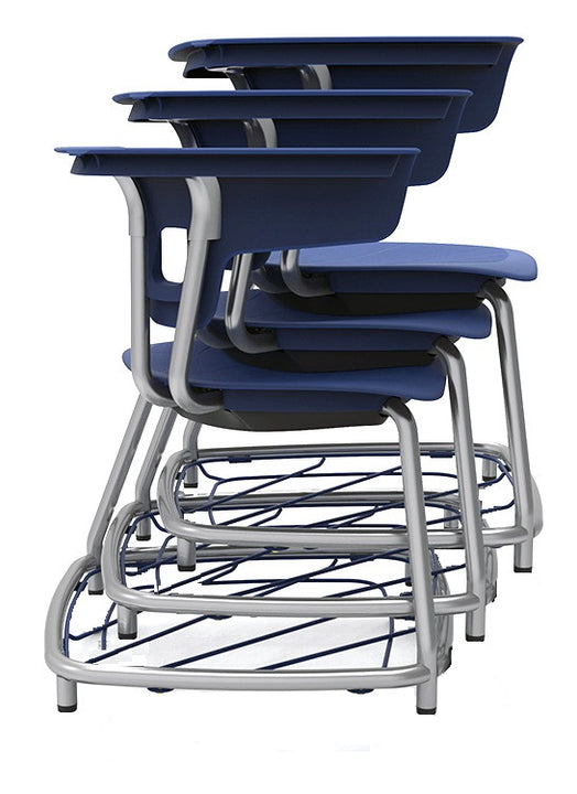 "KI RKU100H18BR Ruckus Plastic Stack Chair with Book Rack 18"" Seat Height"