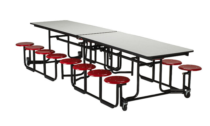 "KI UF126/PY Uniframe Rectangle Folding Cafeteria Table with 12 Stools and Black Frame 12'L x 29""H"