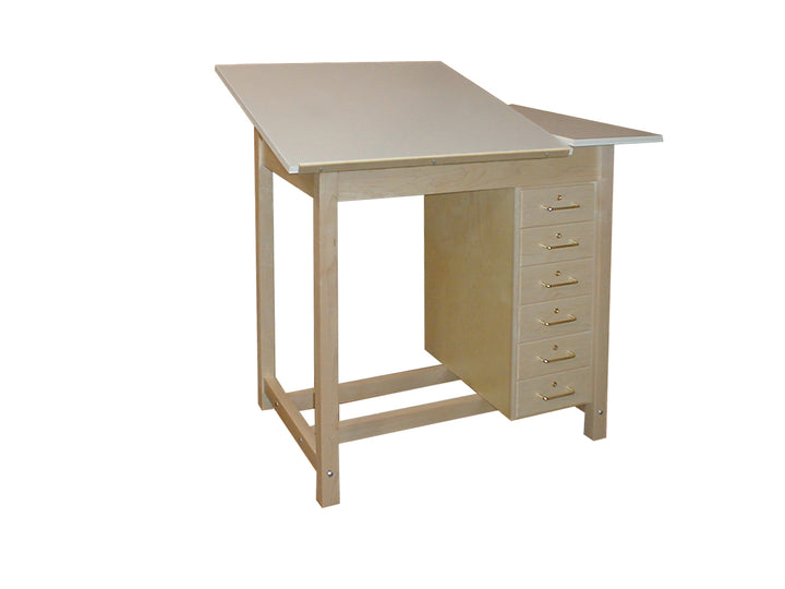Hann Adjustable Split Top Drawing Table w/ 6 Drawer Storage Cabinet
