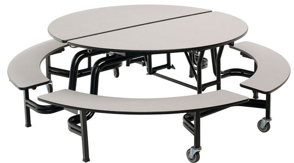 "AmTab MBR604 Round Mobile Cafeteria Table with DynaRock Edge 4 Benches 60"" Diameter - Quick Ship"