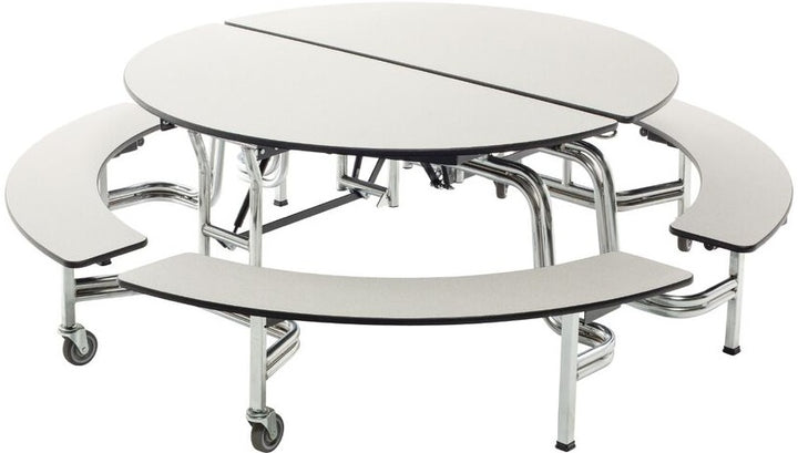 "AmTab MBR604 Round Mobile Cafeteria Table with 4 Benches 60"" Diameter"