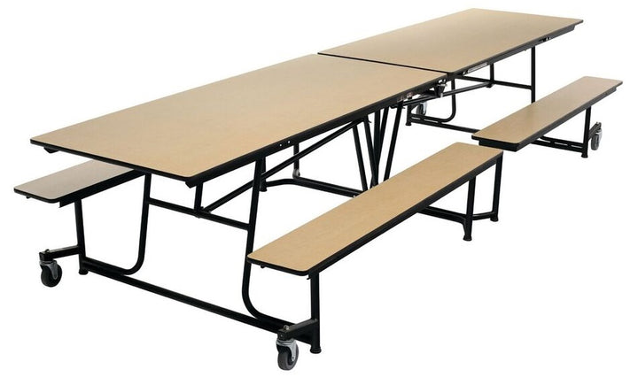 AmTab MBT12 Rectangle Mobile Bench Cafeteria Table 12 Feet - Quick Ship