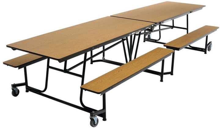AmTab MBT12 Rectangle Mobile Bench Cafeteria Table with DynaRock Edge 12 Feet - Quick Ship