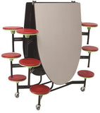 AmTab MSE1012 Elliptical Mobile Cafeteria Table with 12 Stools and Black Frame 10 Feet - Quick Ship