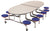 AmTab MSE1012 Elliptical Mobile Cafeteria Table with DynaRock Edge 12 Stools and Chrome Frame 10 Feet - Quick Ship