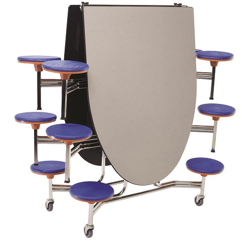 AmTab MSE1012 Elliptical Mobile Cafeteria Table with 12 Stools and Chrome Frame 10 Feet - Quick Ship