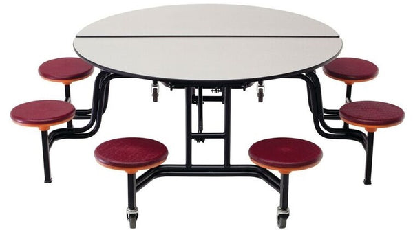 "AmTab MSR608 Round Mobile Cafeteria Table with DynaRock Edge 8 Stools and Black Frame 60"" Diameter - Quick Ship"