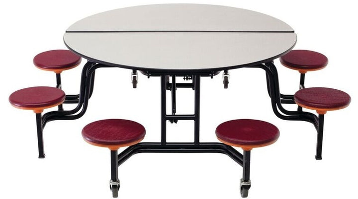"AmTab MSR604 Round Mobile Cafeteria Table with 8 Stools 60"" Diameter - Quick Ship"