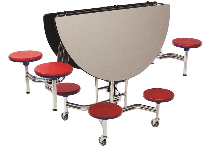 "AmTab MSR604 Round Mobile Cafeteria Table with 8 Stools and Chrome Frame 60"" Diameter - Quick Ship"