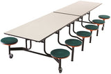 AmTab MST1212 Rectangle Mobile Cafeteria Table with 12 Stools and Black Frame 12 Feet - Quick Ship