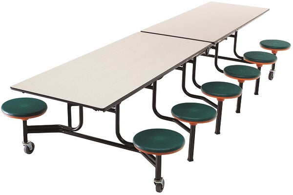 AmTab MST1212 Rectangle Mobile Cafeteria Table with DynaRock 12 Stools and Black Frame 12 Feet - Quick Ship