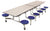 AmTab MST1212 Rectangle Mobile Cafeteria Table with DynaRock Edge 12 Stools and Chrome Frame 12 Feet - Quick Ship