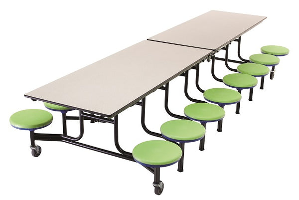 AmTab MST1216 Rectangle Mobile Cafeteria Table with DynaRock Edge 16 Stools and Black Frame 12 Feet - Quick Ship