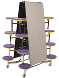 AmTab MST1216 Rectangle Mobile Cafeteria Table with 16 Stools and Chrome Frame 12 Feet - Quick Ship