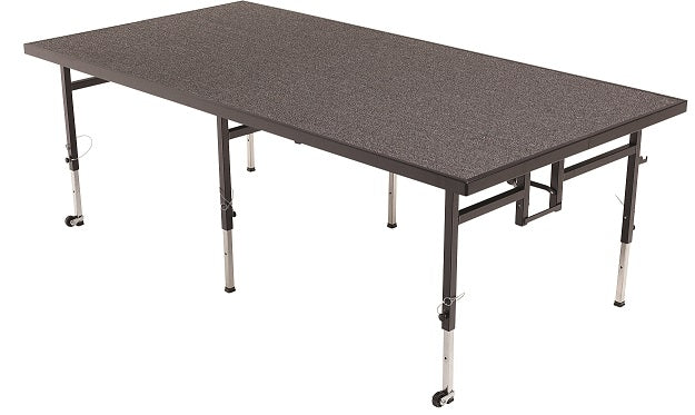 "AmTab STA4824C Carpeted Mobile Adjustable Height Stage 4 x 8 x 24""H or 32""H - Quick Ship"