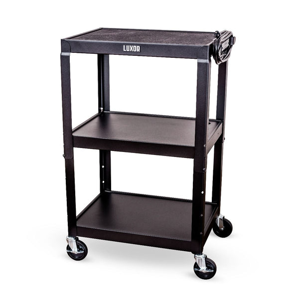 Luxor AVJ42 Three Shelf Adjustable Height Steel AV Cart with Electrical Assembly