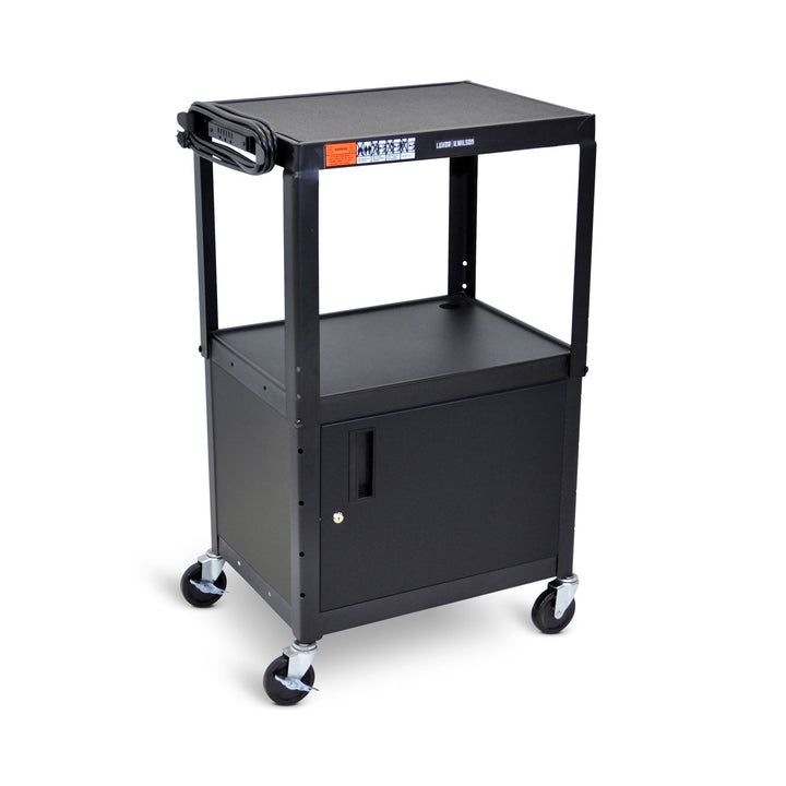 Luxor AVJ42C Adjustable Height Steel AV Cart with Cabinet