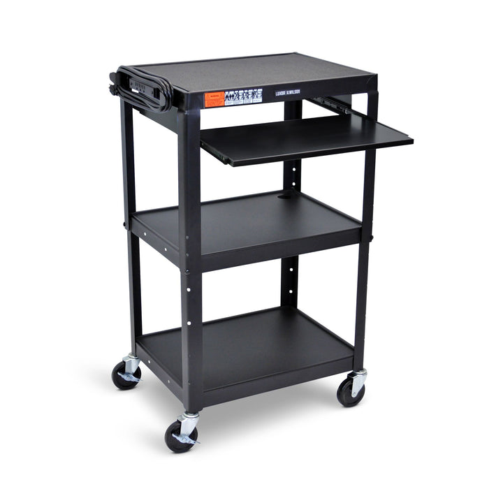 Luxor AVJ42KB Three Shelf Adjustable Height Steel AV Cart with Pull Out Tray and Electrical Assembly