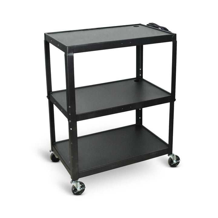 Luxor AVJ42XL Extra Large Three Shelf Adjustable Height Steel AV Cart with Electrical Assembly