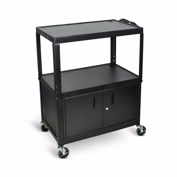 Luxor AVJ42XLC Extra Large Three Shelf Adjustable Height Steel AV Cart with Cabinet and Electrical Assembly