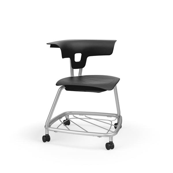 "KI RKV100H18BR Ruckus Plastic Stack Chair with Casters and Book Rack 18"" Seat Height"